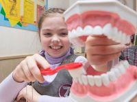 Девочка с макетом зубов