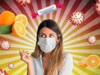Девушка в маске, вирусы, аскорбинка